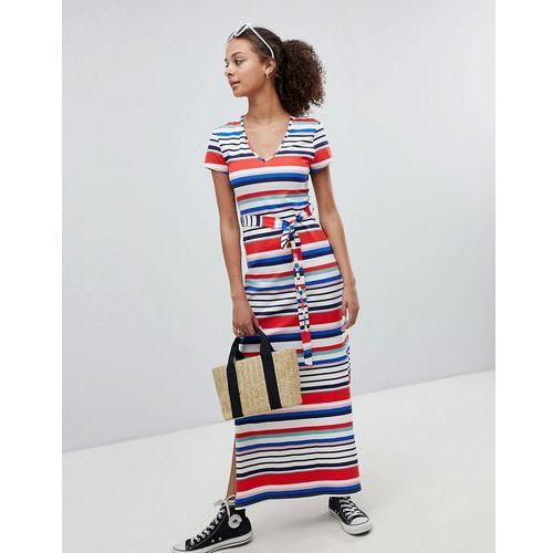 New Look Stripe V Neck T-Shirt Maxi Dress - White, kolor biały