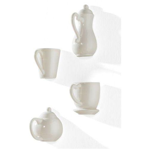 """Dekoracja ścienna """"coffee"""" (4 części) biały marki Bonprix"""
