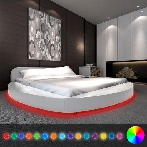 Vidaxl  białe okrągłe łóżko ze sztucznej skóry z taśmą led 180 x 200 cm