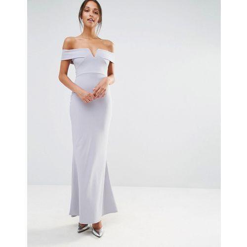 Missguided Crepe Bardot V Plunge Maxi Dress - Grey