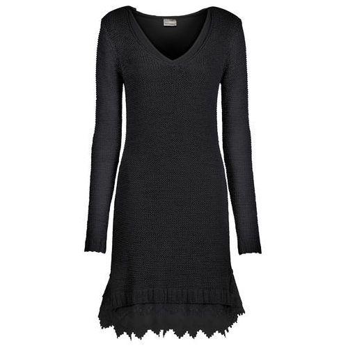 Bonprix Sukienka dzianinowa z koronkowymi falbanami  czarny