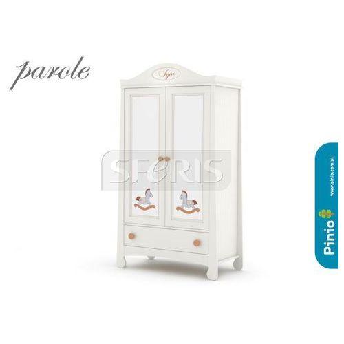 PINIO Parole Szafa dwudrzwiowa MDF biała - nadruk konik- brązowy uchwyt - 016-040-058