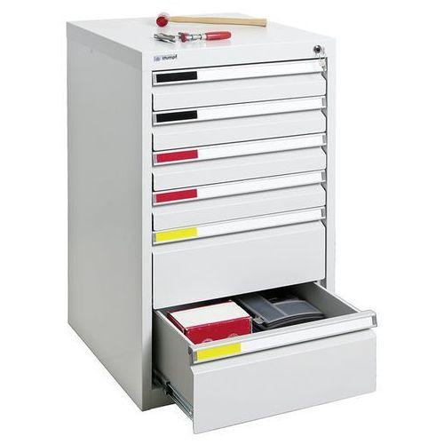 Szafka z szufladami, szer. 500 mm, 7 szuflad, jasnoszary. system modułowy do łąc marki Stumpf-metall