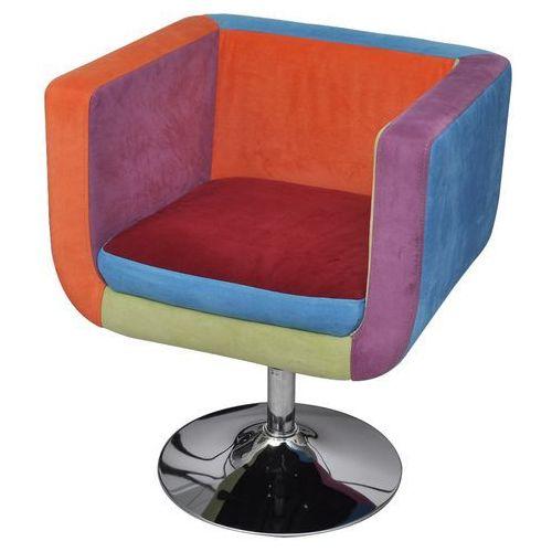 vidaXL Patchworkowy fotel, kostka z regulowaną wysokością