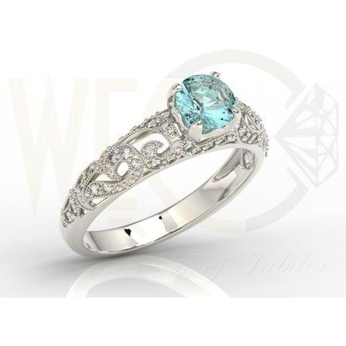 Węc - twój jubiler Pierścionek zaręczynowy z białego złota z topazem i diamentami bp-50b - białe \ topaz