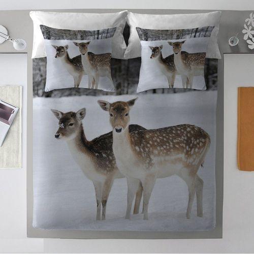 komplet pościeli winter deer, poszwa 160 × 200 cm, 2 poszewki 70 × 80 cm marki Dekoria