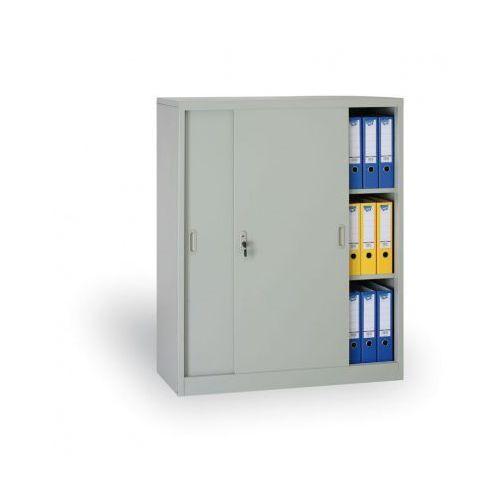 Metalowa szafa z przesuwnymi drzwiami, 1200x1000x450 mm, jasnoszary marki B2b partner