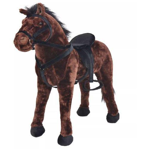 Vidaxl pluszowy konik, stojący, brązowy, xxl (8718475565703)