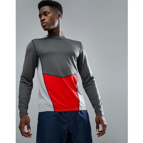 New look sport long sleeve top with panel in dark grey - grey