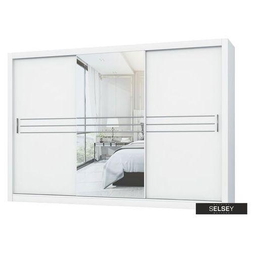 Selsey szafa londre 250 cm biała z podłużnym lustrem pośrodku (5903025350318)