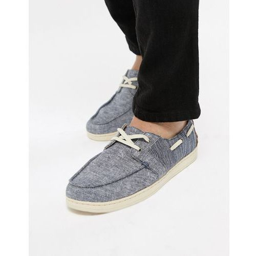 chambray boat shoes in navy - navy, Toms