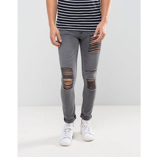 New Look Skinny Jeans With Extreme Rips In Grey Wash - Grey, jeansy