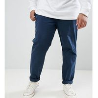 plus elastic waist cropped chino trousers - navy marki D-struct