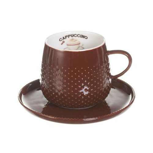 filiżanka ze spodkiem raindrop coffee dark brown porcelana 270ml, 270ml marki Dekoria