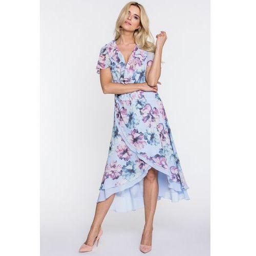 Błękitna sukienka w kwiaty - SU