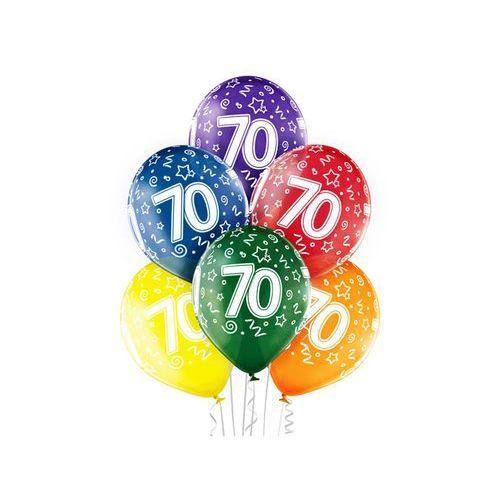 """Balony transparentne z nadrukiem """"70"""" - 12 cali - 6 szt. marki Belball"""