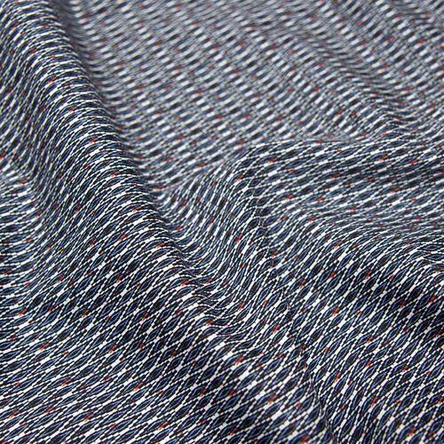 Tkanina bawełniana koszulowa - wzór abstrakcyjny niebieski z pomarańczowymi akcentami