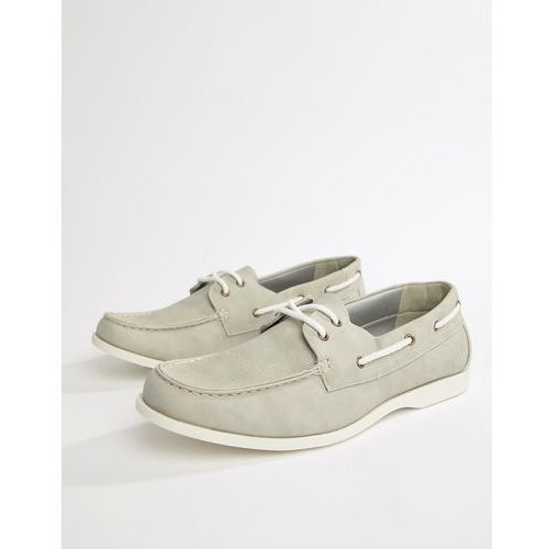 faux suede boat shoes in light grey - grey marki New look