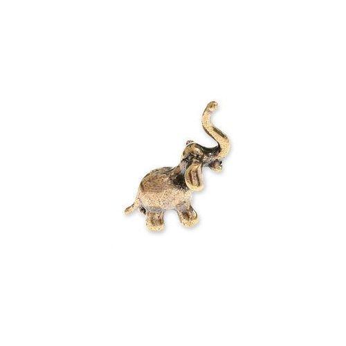Jubileo.pl Figurka maleńki złoty słonik talizmany słoń kolor stare złoto zwierzęta