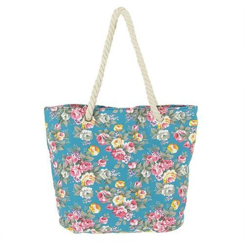 Miejsko plażowa torebka w kwiaty błękitny