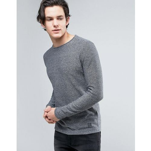 Brave Soul Mens Crew Neck Knitted Jumper with Sausage Roll Neck - Grey