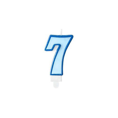 Twojestroje.pl Świeczka urodzinowa cyferka z obwódką niebieska 7 (5901157462237)