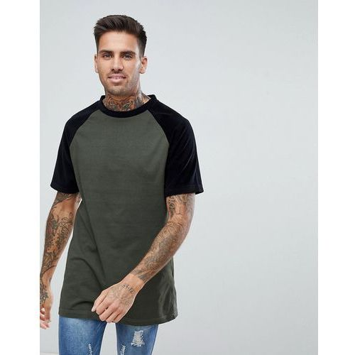Boohooman longline t-shirt with velour sleeves in khaki - green
