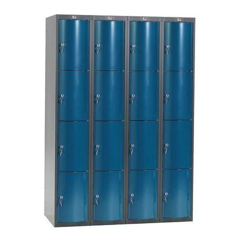 Metalowa szafa ubraniowa curve, 4x4 drzwi, 1740x1200x550 mm, niebieski marki Aj produkty