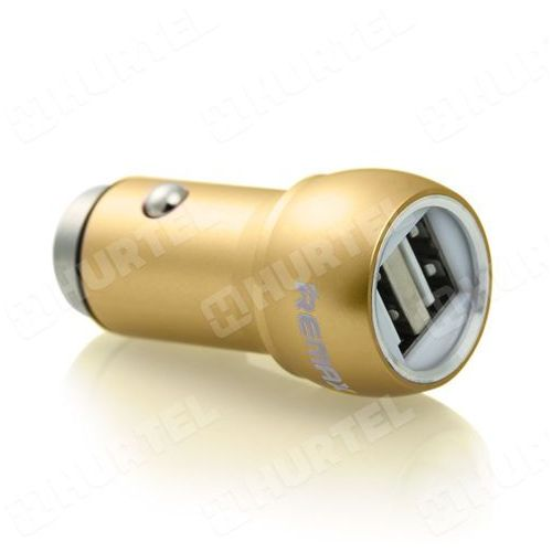 uniwersalna metalowa ładowarka samochodowa 2 x usb 2.4a złota - złoty od producenta Remax