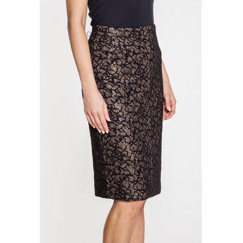Spódnica w czarno-złotą koronkę - Far Far Fashion, kolor czarny