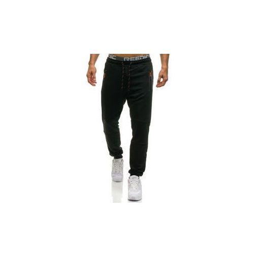 Spodnie męskie dresowe joggery czarne Denley 1607, kolor czarny