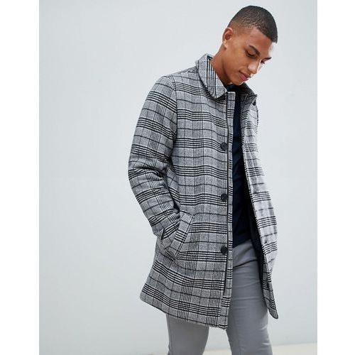 Bellfield wool overcoat in grey dogtooth check - grey