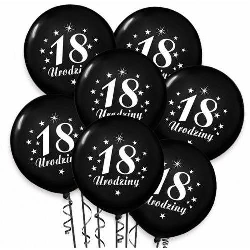 Dp Balony pastelowe z nadrukiem 18 urodziny - czarne - 30 cm - 100 szt.
