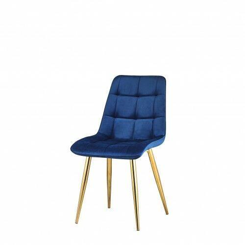 Big meble Krzesło tapicerowane welur niebieskie nogi złote big coral dostawa 0zł