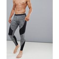 ASOS 4505 running tights with cut & sew and quick dry - Black, kolor czarny