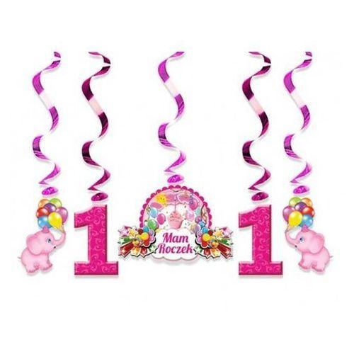 Świderki urodzinowe różowe na roczek - 60 cm - 5 szt marki Dp