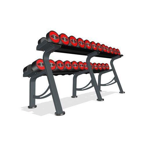 Zestaw hantli żeliwnych gumowanych 5-32,5 kg ze stojakiem marbo professional - czerwony marki Marbo sport