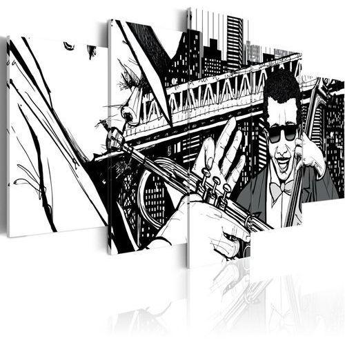 Obraz - koncert jazzowy na tle nowojorskich wieżowców - 5 częsci, marki Artgeist