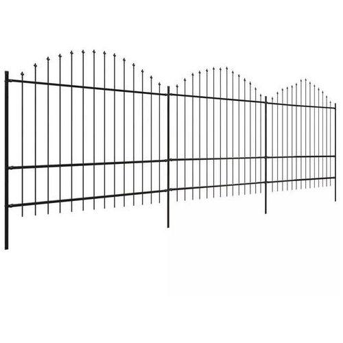 Vidaxl panele ogrodzeniowe z grotami (1,5-1,75) x 6 m, stalowe, czarne