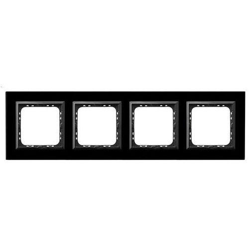 OSPEL SONATA R-4RGC/32/25 Ramka poczwórna CZARNY Czarne szkło, grubość 4mm, R-4RGC/32/25
