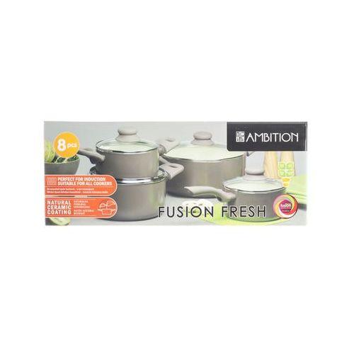 Ambition fusion fresh brown garnki 1.25 - 4 l zestaw 8 el. indukcja