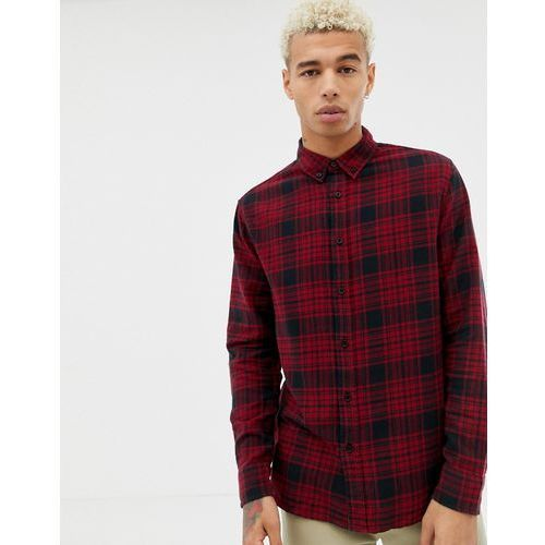 Bershka check shirt in red and black with button down collar - Red, kolor czerwony