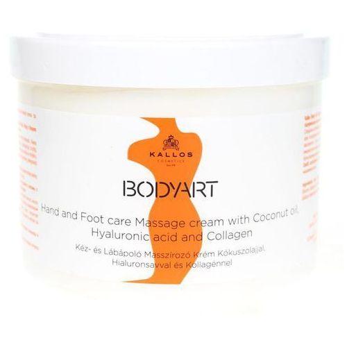 bodyart krem do masażu do rąk i nóg (hand and foot care massage cream with coconut oil, hyaluronic acid and collagen) 500 ml marki Kallos