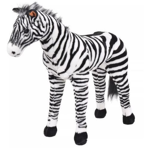 Vidaxl pluszowa zebra, stojąca, czarno-biała, xxl (8718475565789)