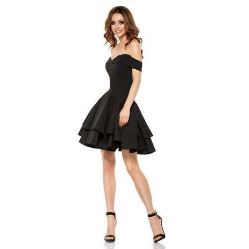 Czarna Elegancka Imprezowa Sukienka z Odkrytymi Ramiona, kolor czarny
