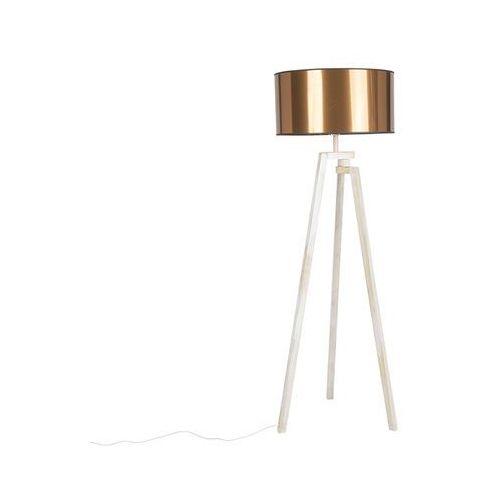 Qazqa Designerska lampa podłogowa trójnóg białe drewno miedziany klosz - cortina