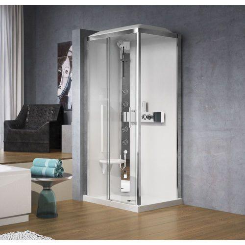 glax 2p120x90 kabina z sauną parową, drzwi 120cm+ścianka boczna 90cm, profil srebrny, lewa gl32p29xs1n-1b marki Novellini
