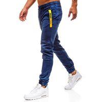 Spodnie jeansowe joggery męskie granatowe Denley Y257B, jeansy