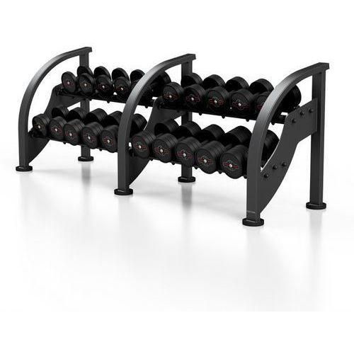 Zestaw hantli stalowych gumowanych 5 - 27,5 kg ze stojakiem Marbo Sport - czarny