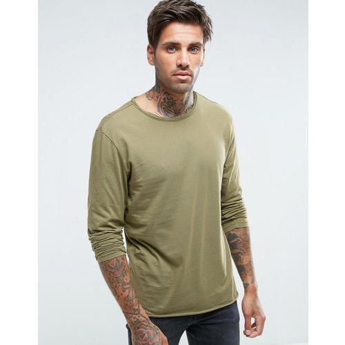 Another influence basic raw edge long sleeve top - green